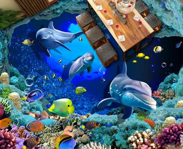 3D Flooring Dolphin Coral Wallpaper For Kids Room Rolls Vinyl Wallpaper 3D Floor Tiles Photo Wallpaper 3d flooring underwater murals hd coral 3d floor wallpaper for bedroom walls vinyl floor wallpaper 3d for children room