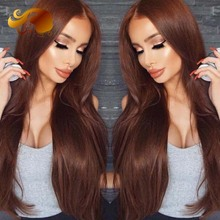 Brazilian Straight Lace Front Wig Brown #33 Colored Full Lace Human Hair Wigs With Baby Hair Glueless Full lace Wigs For Women
