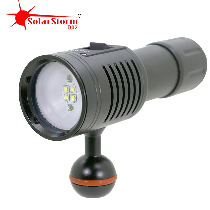 Solarstorm D02 LED Diving Flashlight Scuba Diver lantern Lamp 100M Waterproof Underwater Lights Photography Video Torch