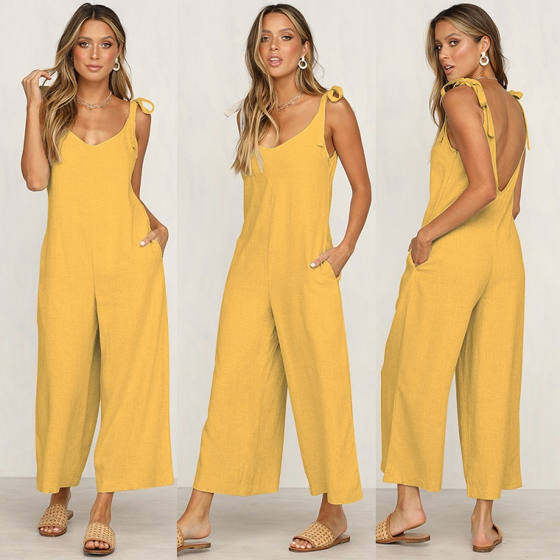 Sexy Lace Up Backless Casual Loose Rompers Womens   Jumpsuit   Summer Trousers Overalls Cotton   Jumpsuits   For Women 2019