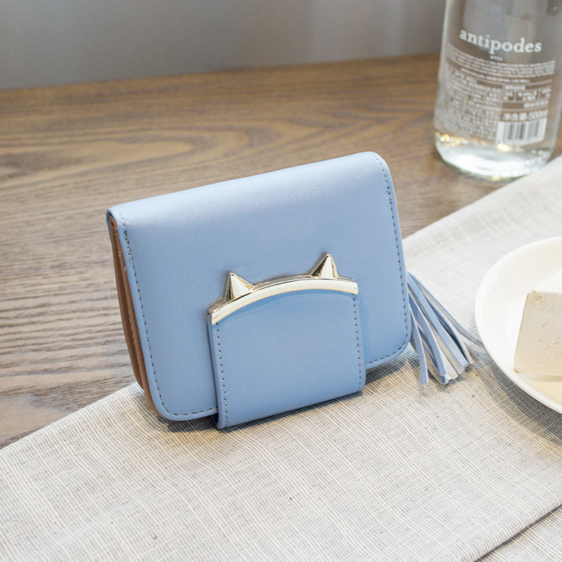 Cute Cat Ears Leather Vintage Tassel Women Wallet Luxury Brand Short Mini Wallets And Purses For Credit Cards portefeuille femme in Wallets from Luggage Bags