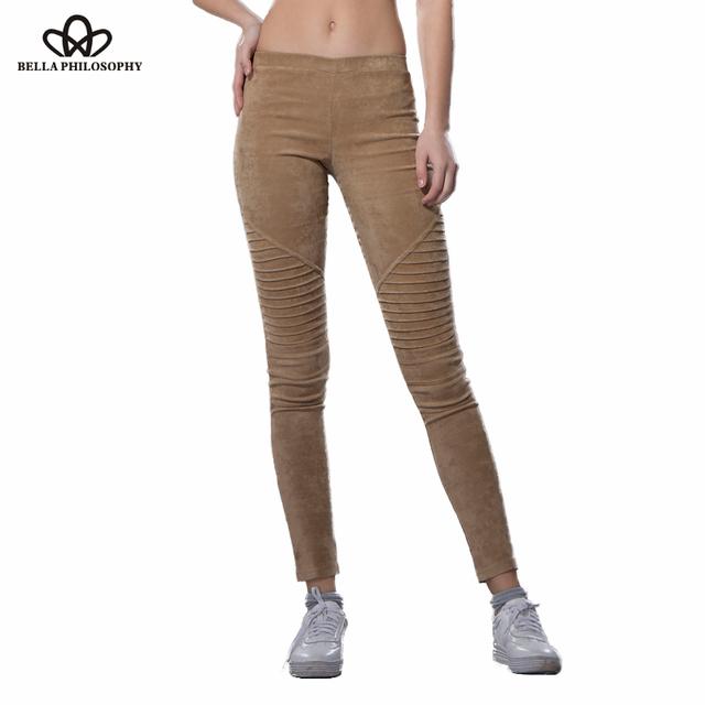 Bella philosophy 2017 dobra primavera moto alta retro cintura elástica stretchy magro camurça do falso calças leggings