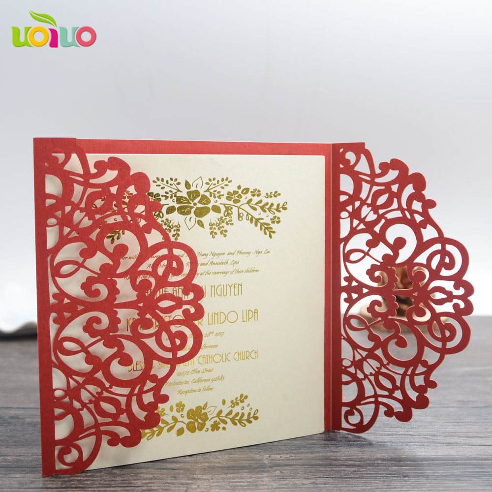 Free Shipping Red Bengali Wedding Invitation Card Arabic