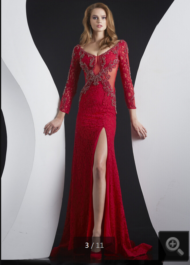 Red Lace Side Slit   Evening     Dresses   Long 2017 Plus Size Backless Long Sleeve Beaded Prom Gown Formal   Dress   Vestidos de noite