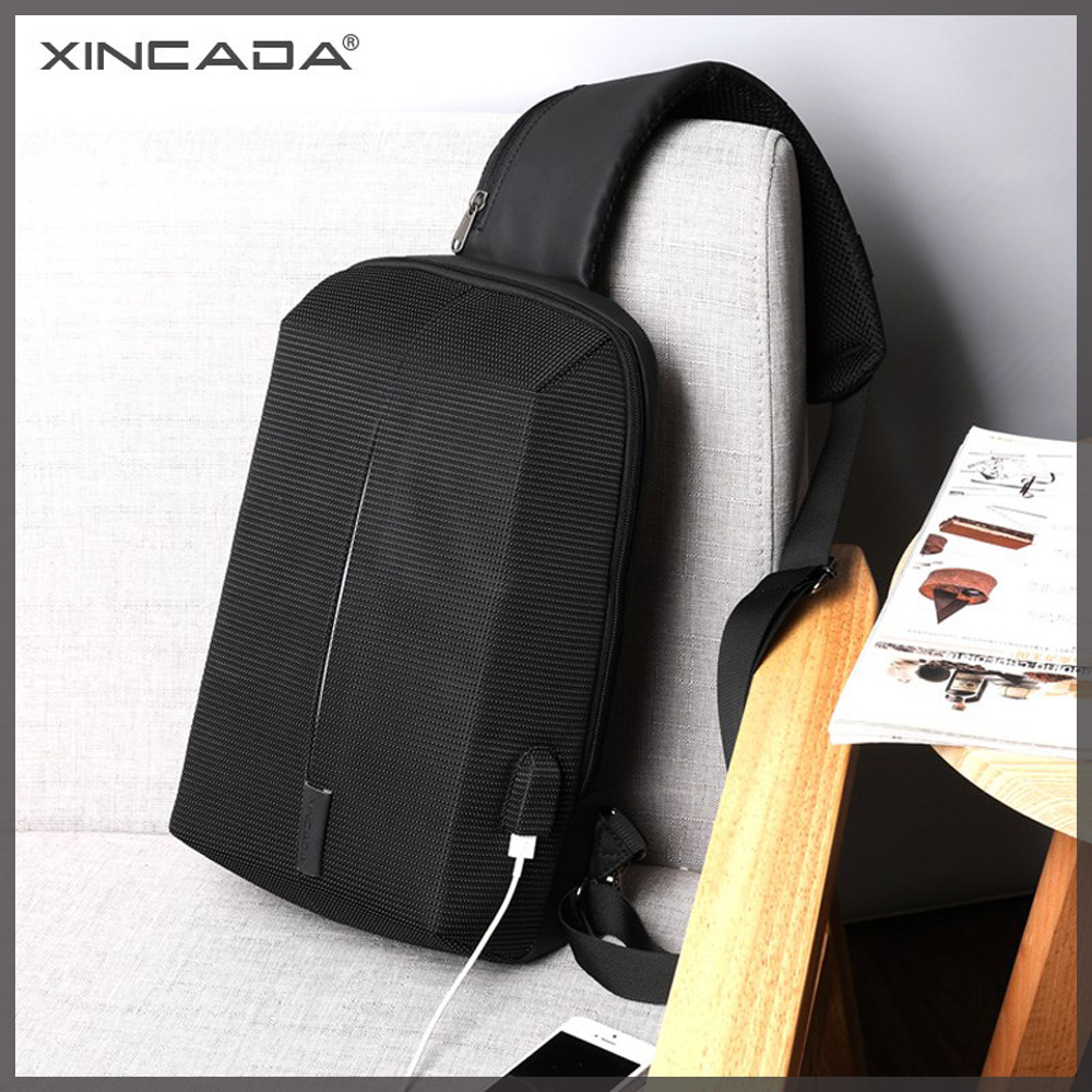 XINCADA Chest Bag Sling Pack Men Watertight Anti Theft Shoulder Crossbody Messenger USB Charging Fashion Black and Blue