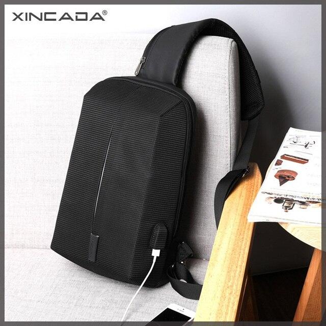 XINCADA Chest Bag Sling Pack Men Watertight Anti Theft Shoulder Bag Crossbody Messenger Bag USB Charging Fashion Black and Blue