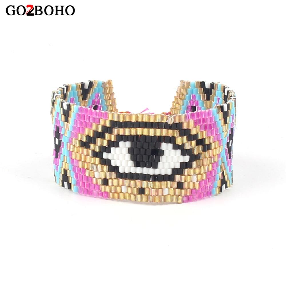 Go2boho Drop-shipping Supplier Big Evil Eye Bracelet Cuff Bracelets Pink MIYUKI Seed Beads Loom Woven Tassel Women Jewelry Gifts