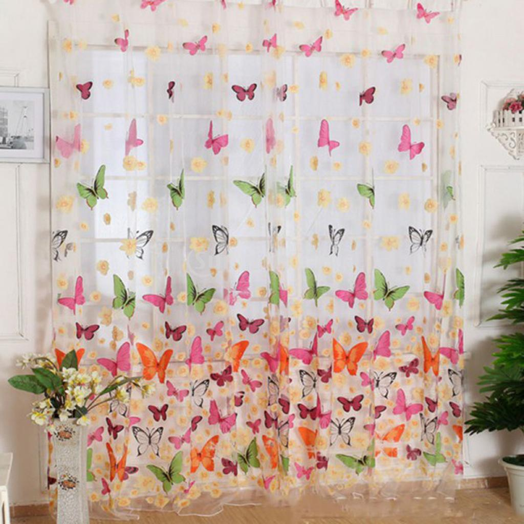 Flower Print Sheer Curtain Panel Window Balcony Tulle Room Divider 100*200cm
