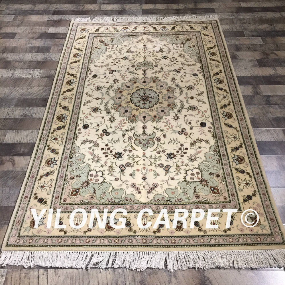 Yilong 4'x6 'fleurs vertes persan tissé à la main laine soie tapis fait main laine soie tapis persan (WY2116S4x6)