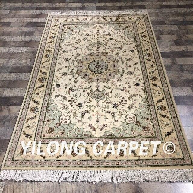 Yilong 4 X6 Grun Blumen Persische Handwoven Wolle Seide Teppich
