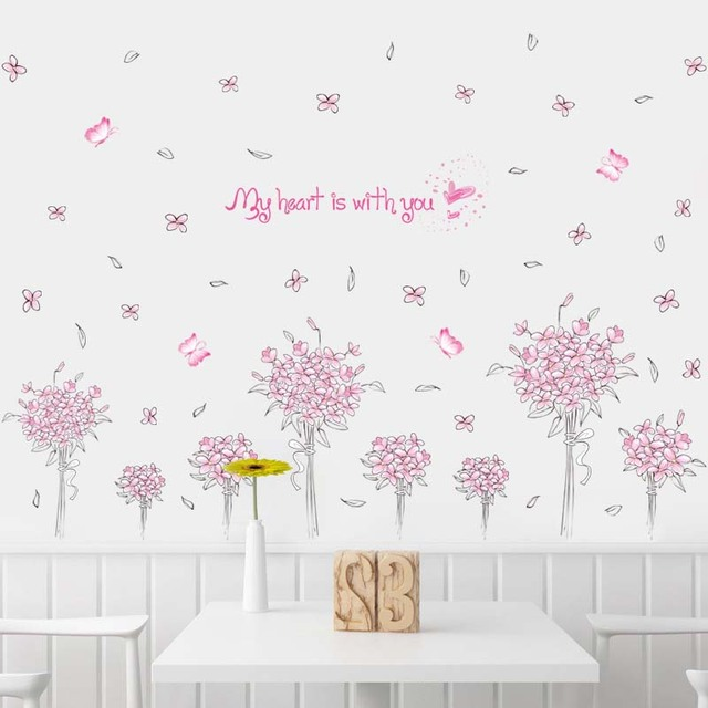 PVC Removable Pink Butterfly Flower Wall Sticker Home Art Decor Living Room  Background Wallpaper J2Y Part 76