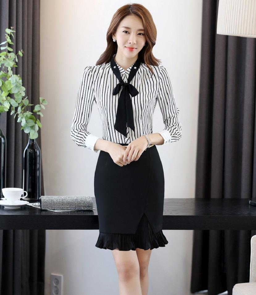 365online Store New Fashion Striped Formal Spring Fall Office Work Wear Suits With 2 Pieces Tops And Skirt Business Women Skirt Suits
