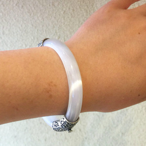 Image 5 - 순수한 925 실버 팔찌 그린 핑크 화이트 오팔 MARCASITE 100% S925 스털링 실버 직경 5.9cm Bangles for Women Jewelry