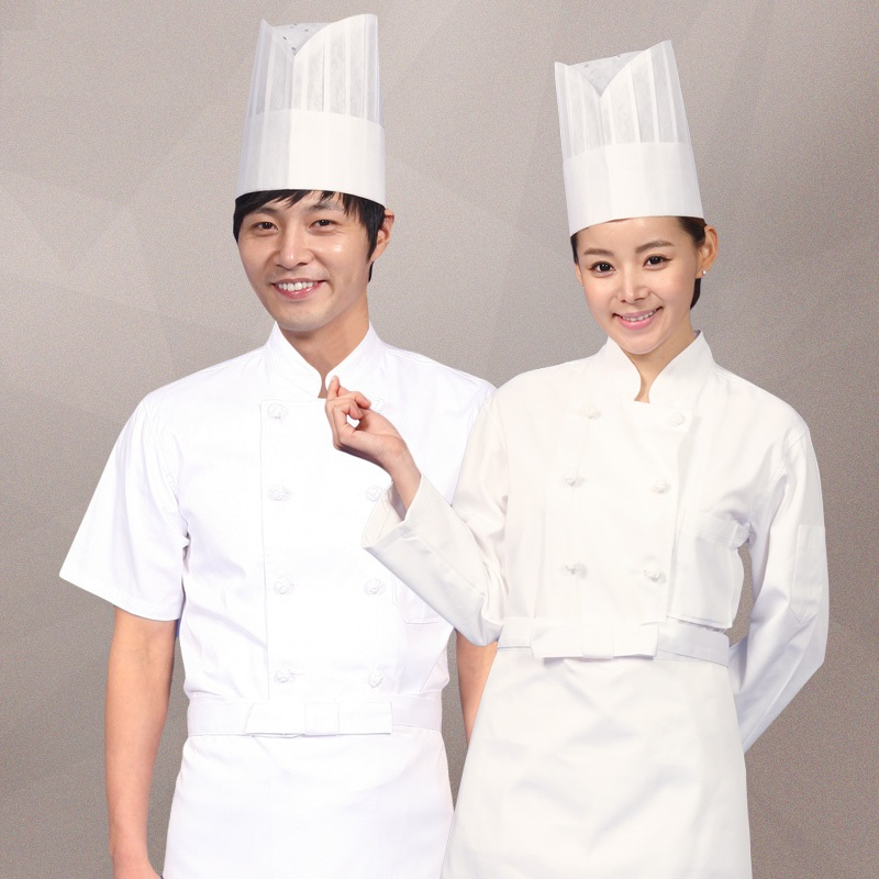 (10sets Hat&Shirt&Apron)white Chef's Half Sleeve Hotel Restaurant Kitchen Cook Clothing Double Configuration Buckle Chef Uniform