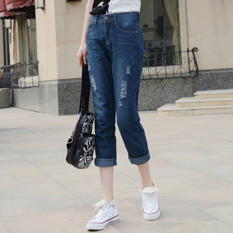 #1310 2016 Summer Loose ripped jeans for women Harem Ankle-length Short feminino Casual Pantalon femme Denim pants Cuffs