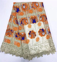 Latest flower design Ankara fabrics Beautiful colorful African wax prints with guipure lace fabric for party dress