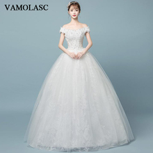 VAMOLASC Pearls Boat Neck Ball Gown Lace Flowers Appliques Wedding Dresses Off The Shoulder Backless Bridal Gowns