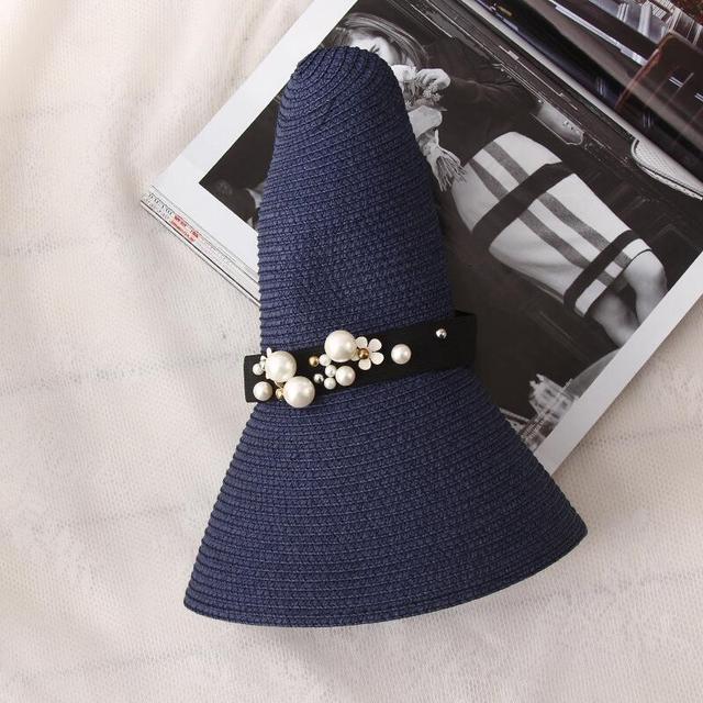 Gran oferta 2019 de sombreros de paja de ala ancha de rafia con parte superior redonda, sombreros de Sol de verano para mujeres con sombreros de playa de ocio, Gorras planas de señora 3
