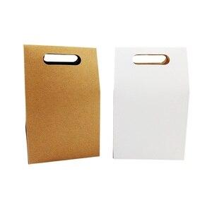 Image 4 - 50 יח\חבילה קינוח אריזת תיבת חתונה חום & לבן קראפט שקית נייר ריק יום הולדת מתנת קופסות ממתקי שקיות עוגת המפלגה ספקי