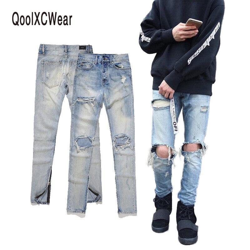 QoolXCWear новый высокого качества уличные мужские уничтожены джинсы повседневные штаны холодный зеленый джинсы повреждения джинсы rock в стиле ...