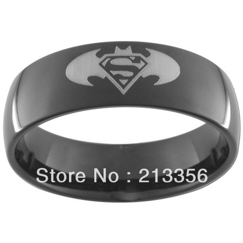 usa wholesales cheap price 8mm womenmens his or her batman superman black tungsten wedding band rings - Superman Wedding Ring
