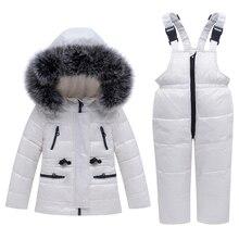 חורף ילדי חליפת סקי Windproof חם בני בגדי סט מעיל + סרבל בני בגדי סט 0 4 שנים ילדים שלג חליפות אמיתי פרווה
