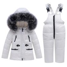 Zimowy kombinezon narciarski dla dzieci wiatroodporny ciepły zestaw ubrań dla chłopców kurtka + kombinezony zestaw ubrań dla chłopców 0 4 lat dziecięce kombinezony śnieżne prawdziwe futro