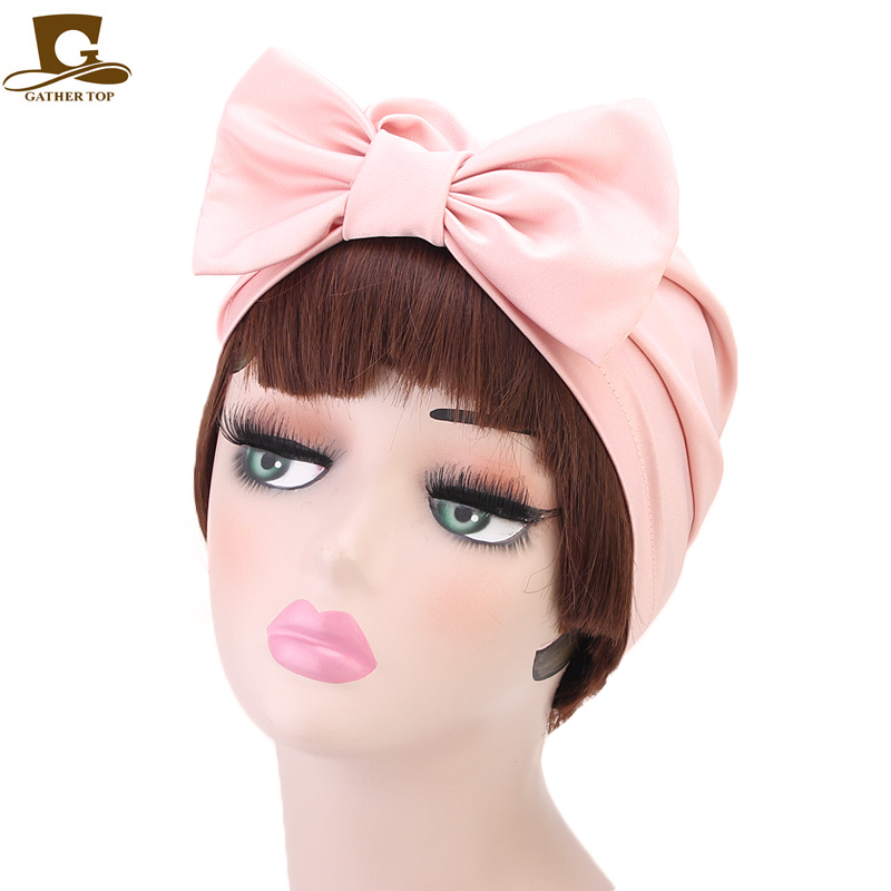 0778c9105 Novedad moda de lujo mujeres sliky Bow Turbante sombrero musulmán India  Bonnet quimio Hijab sombrero gorro señoras Turbante accesorios para el  cabello