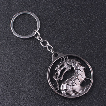 Game Mortal Kombat Logo Keychain Creative Personality Animal Dragon KeyRing Man Jewelry Gift for Friend