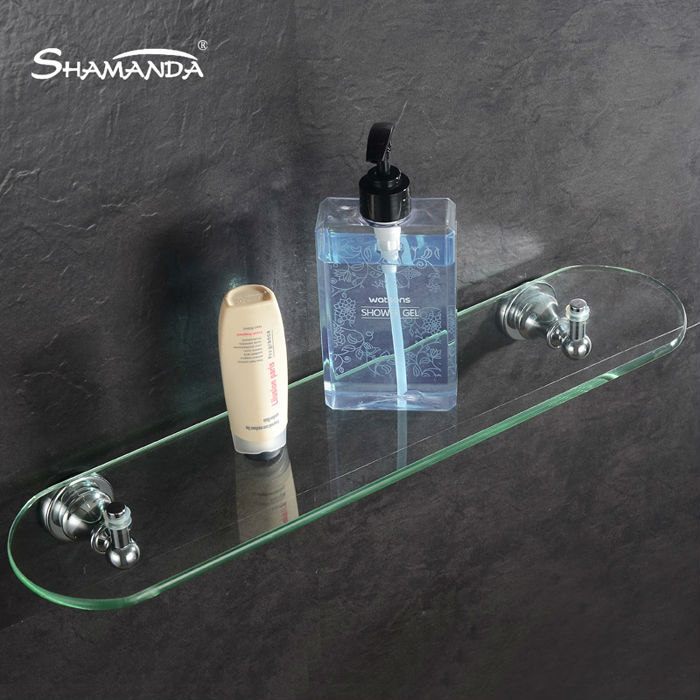 New Free Shipping Single/Double Bathroom Shelf Brass Chrome Finish Base+Glass Shelves Bathroom Accessories Product free shipping golden single bathroom shelf glass shelf brass made base glass shelf bathroom hardware bathroom accessories 67011