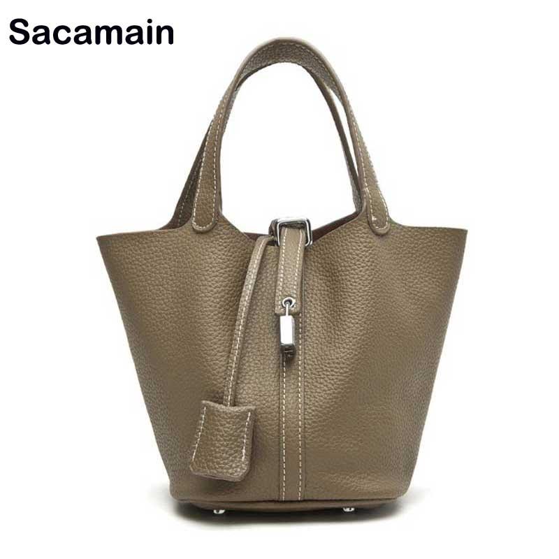Marque en cuir véritable seau sac de luxe sac à main femmes sacs Designer 2018 fourre-tout en cuir poignées pour sacs à main shopping sac
