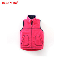 BEKE MATA Boys Vests 2017 Autumn Fashion Fleece Kids Boy Outerwear Candy Color Zipper Girls Waistcoat Jacket Children Vest Girls