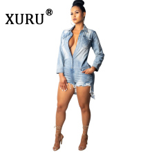 XURU autumn new womens hot denim jumpsuit fashion sexy jeans slim casual
