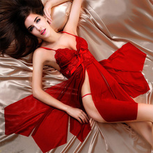 Lace Embroidery Red Baby Doll Sexy Lingerie Women Hot Sexy Solid V-Neck Transparent Erotic Lingerie Sexy Slit Sleepwear Pajamas