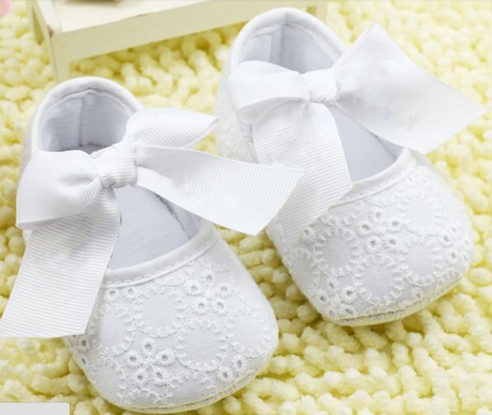 Newborn Baptism Shoes White Bowknot Baby Girl Lace Shoes Toddler Prewalker Anti-Slip Shoe Simple & Christening Baby Shoes