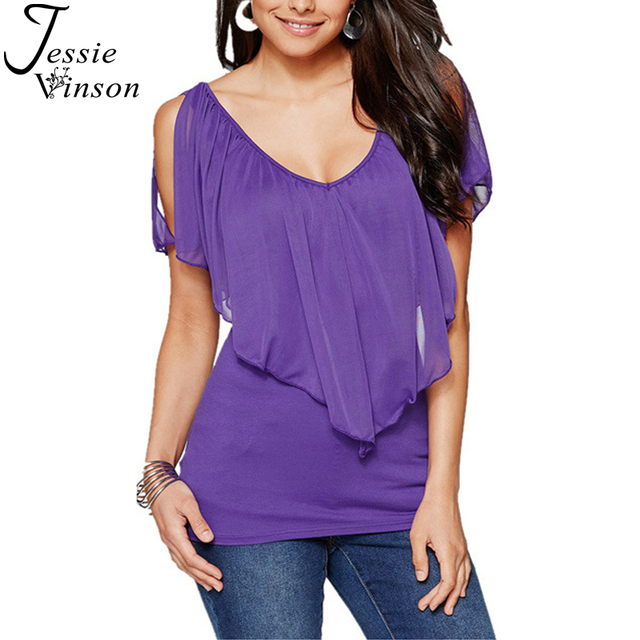 a75c7d8f03c Jessie Vinson Fashion Women Plus Size V-neck Batwing Sleeve Cold Shoulder  Splicing Chiffon Blouse Flutter Tee Top 9 Colors