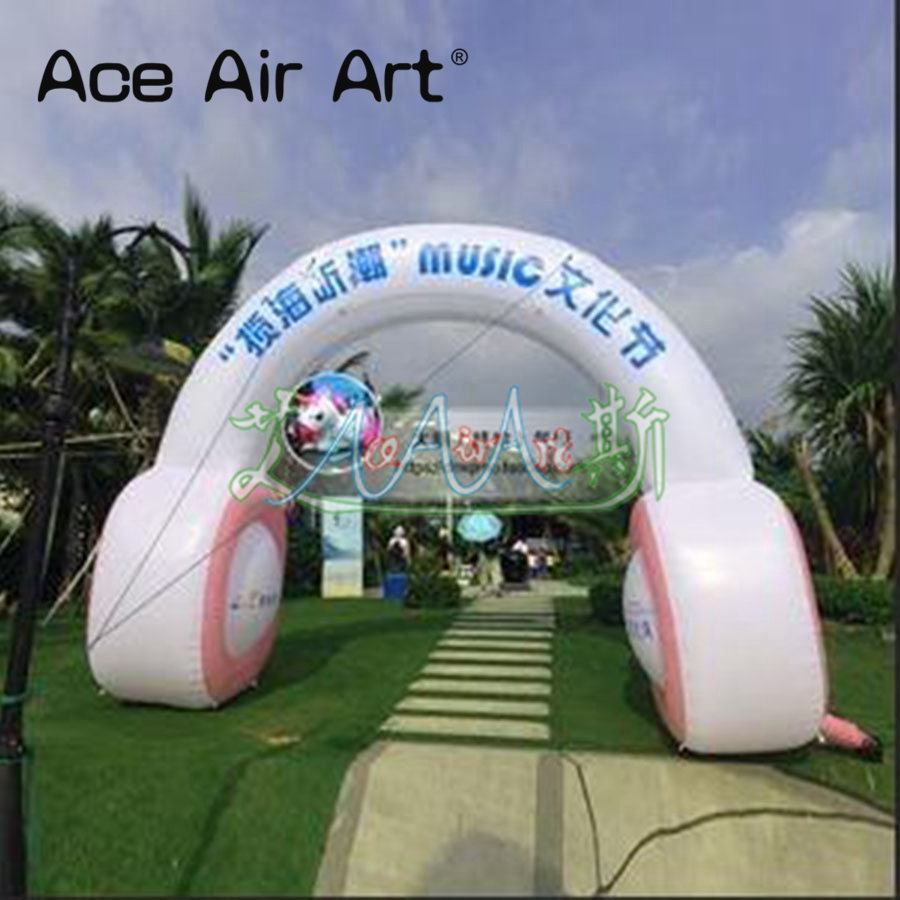 Hot promotional music festival Inflatable air blown Music headphone arch for Vocal concert or song club image