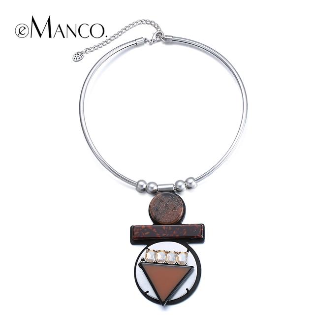 Café geométricas colgante collar de piedra de cristal de piedra collar choker collares de las nuevas mujeres de moda collar llamativo e-manco