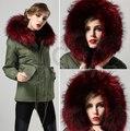 Vino rojo Cálido abrigo de cuello de piel de Invierno elegante, delgado Wine Forro Señora pieles parka más el tamaño Mujeres abrigo de pieles envío gratuito