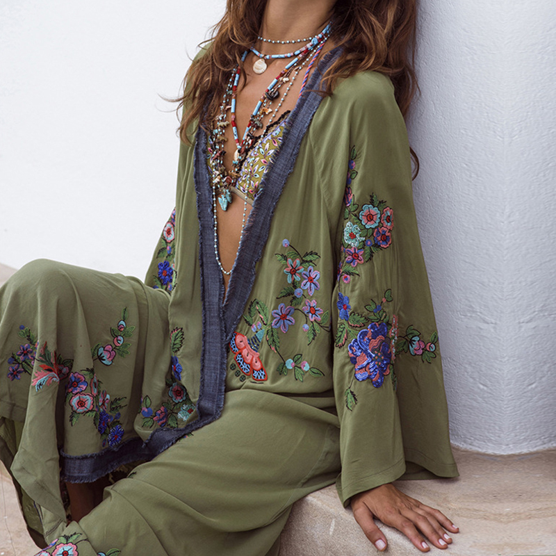 2019 Summer Floral Embroidered Beach Maxi Dress Bishop Long Sleeve For Women Vintage Boho Chic Style Loose Cover up Long Dresses