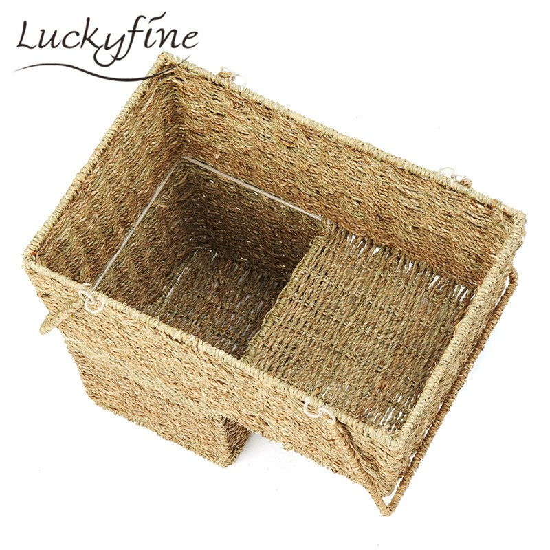 Wicker Weaving Stair Storage Basket Rattan Makeup Stationery Organizer  Magazines Makeup Pen Combination Holder 43x25x40cm In Eye Shadow Applicator  From ...