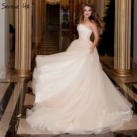 Champagne Strapless Sexy Lace Up Wedding Dresses 2018 Real Picture Sleeveless Tulle Bridal Gown Vestido De Noiva