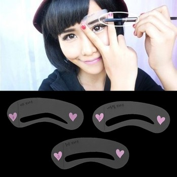 3 Styles Brow Shaping Guide Template Eyebrow Drawing Card Make-Up Stencil Top Quality