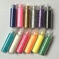 12 colorido Glitter pó Nail Art decalques Super bonito rosa acrílico Glitter pó Nail Art Tips decoração
