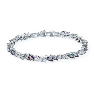 Luckyshine Special Fire Rainbow Mystic Crystal Aaaa Cubic Zirconia Silver Chain Bracelets Russia Australia Bangles In Link From