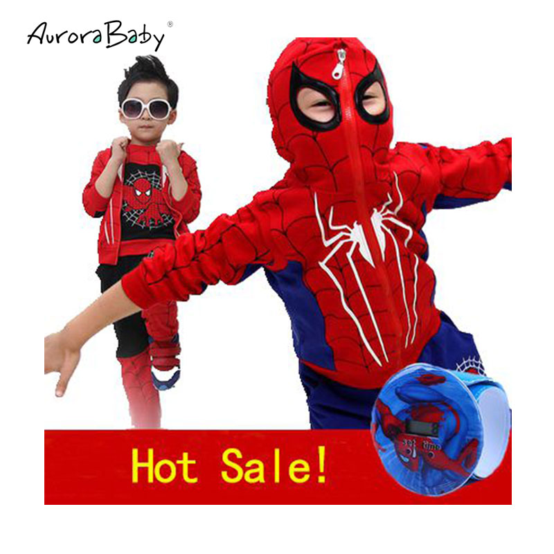 Spiderman Children Boys Clothes 3pcs/Set coat+vest+pant Clothing set Baby Boy Sports Suits 2-6 Years Kids Clothes Tracksuits kids spring formal clothes set children boys three piece suit cool pant vest coat performance wear western style