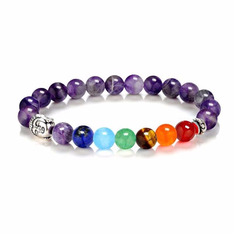 8 Colors 2018 7 Chakra Healing Balance Buddha Beads Bracelets Bangles Charm Natural Stone Bracelet Yoga Jewelry Men Women Gift 1