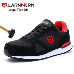LARNMERN Men Steel Toe Safety Shoes Casual Breathable Suede Work Shoes For Men Protective Construction Footwear Sneaker