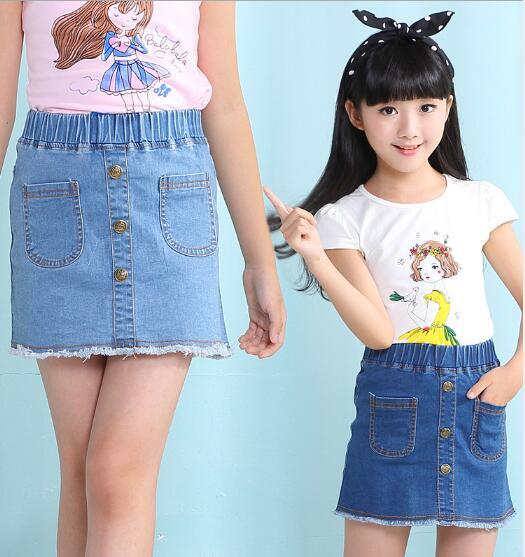 5e2a5f736238 Fashion Girls Denim Skirts Summer Children Kids Clothes Casual Toddler Girl  Short Jean Pencil Skirt Baby
