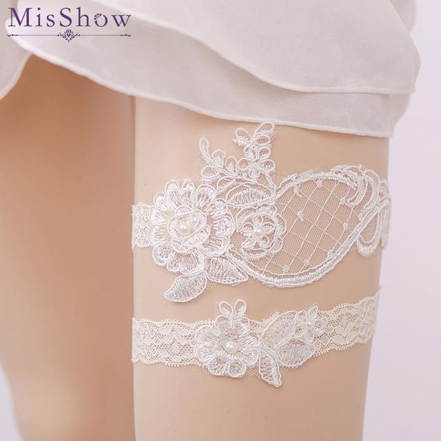 f3e3b4d4303 in Stock Cheap Sexy Appliques Pearl Wedding Leg Garter Belt Lace ivory Wedding  Garter Bridal Garter Wedding Accessory For Bridal
